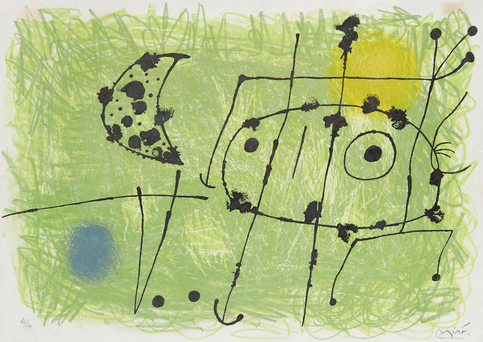 Joan Miro-Pl. VI, From Le Lezards Aux Plumes Dor-1967