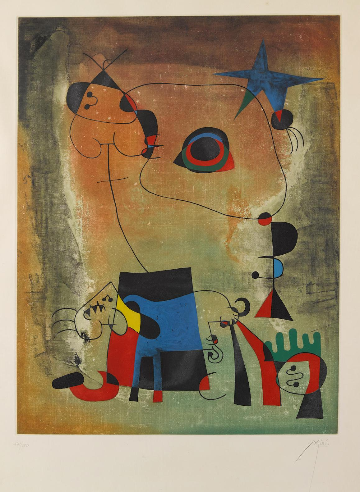 After Joan Miro - Le Chien Bleu-1959