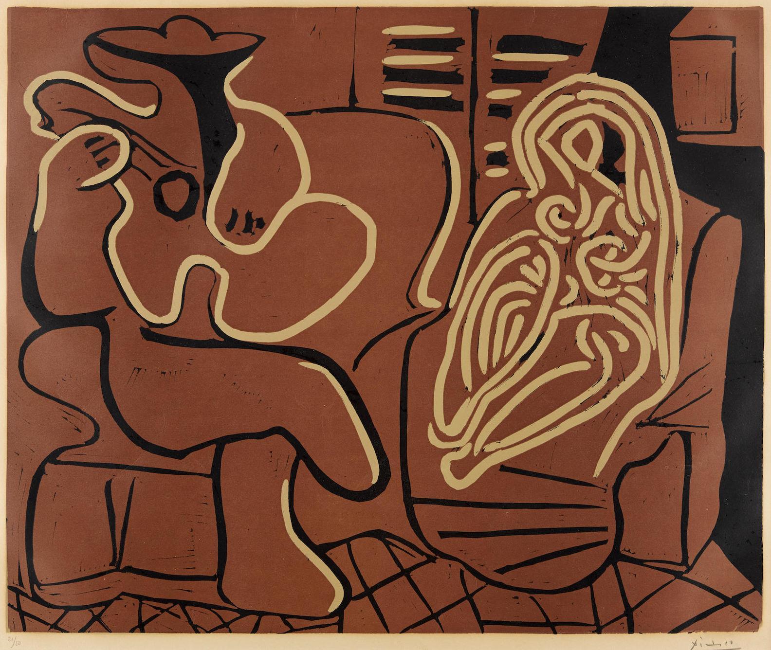 Pablo Picasso-Femme Dans Un Fauteuil Et Guitariste-1959