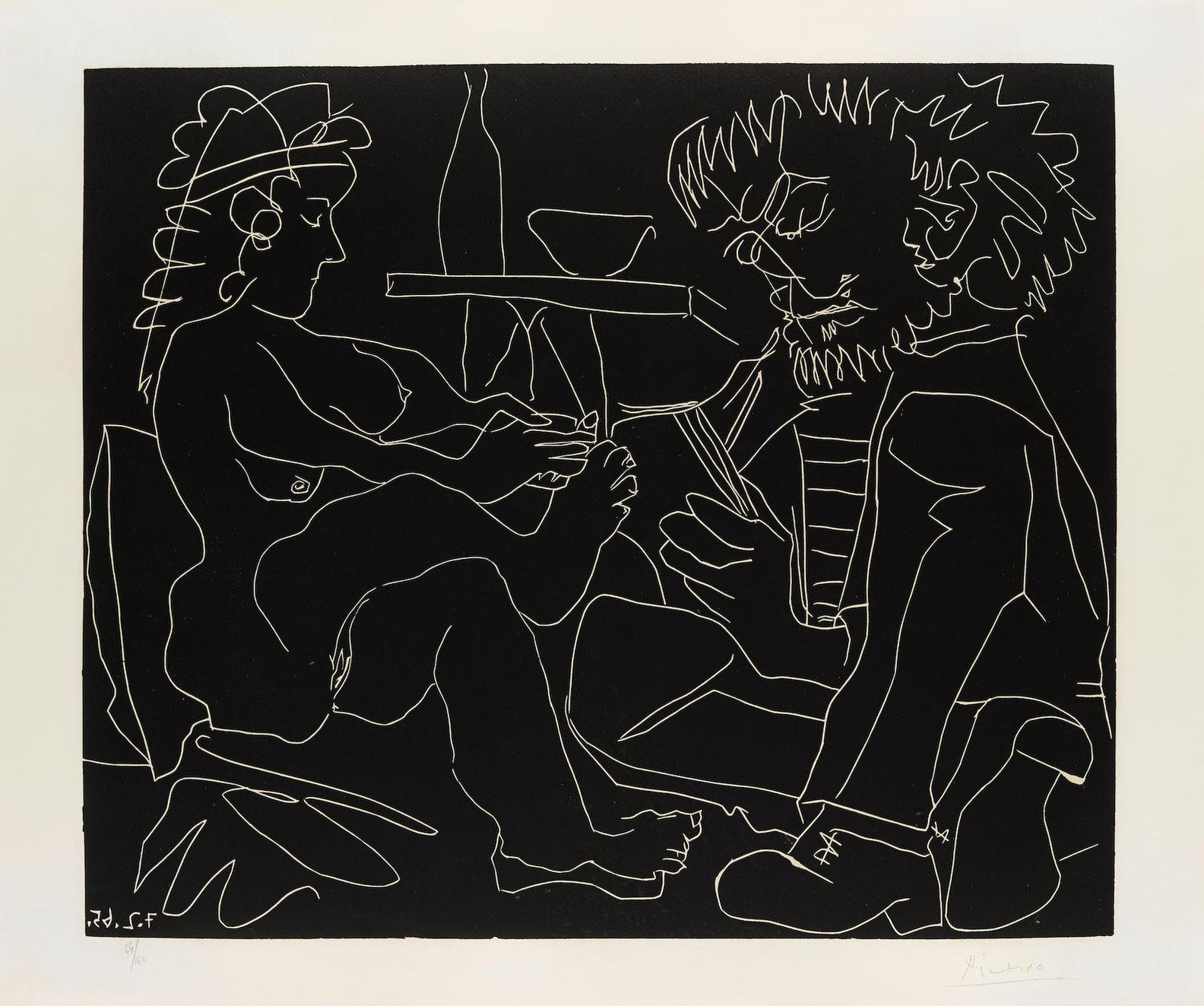 Pablo Picasso-Peintre Dessinant Et Modele Nu Au Chapeau-1965