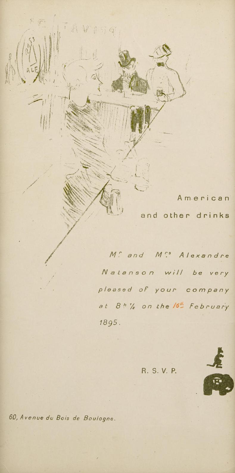 Henri de Toulouse-Lautrec-Invitation Mr And Mrs Alexandre Natanson-1895