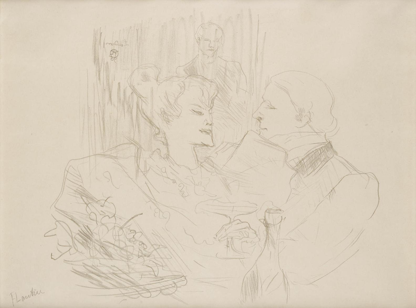 Henri de Toulouse-Lautrec-Souper A Londres, From Etudes De Femmes-1896