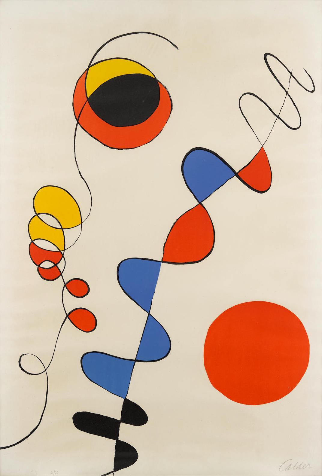 Alexander Calder-Couleurs Enlaces Dans Le Fil De Fer-1965