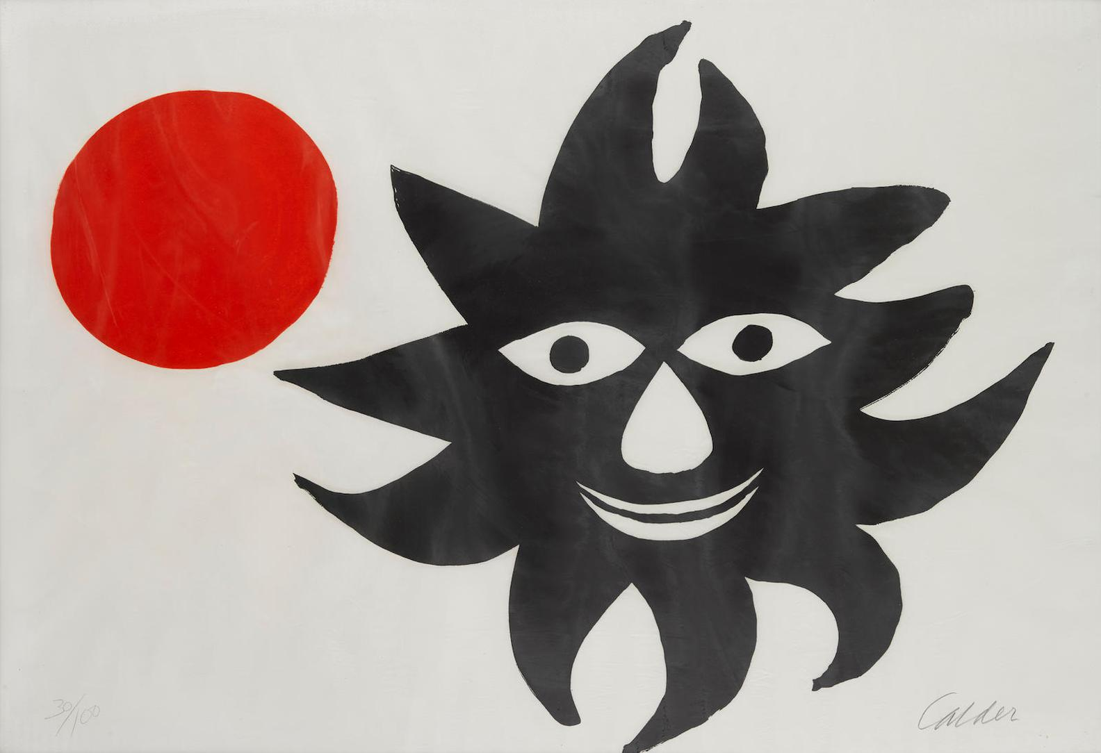 Alexander Calder-Red Moon And Black Sun-1970