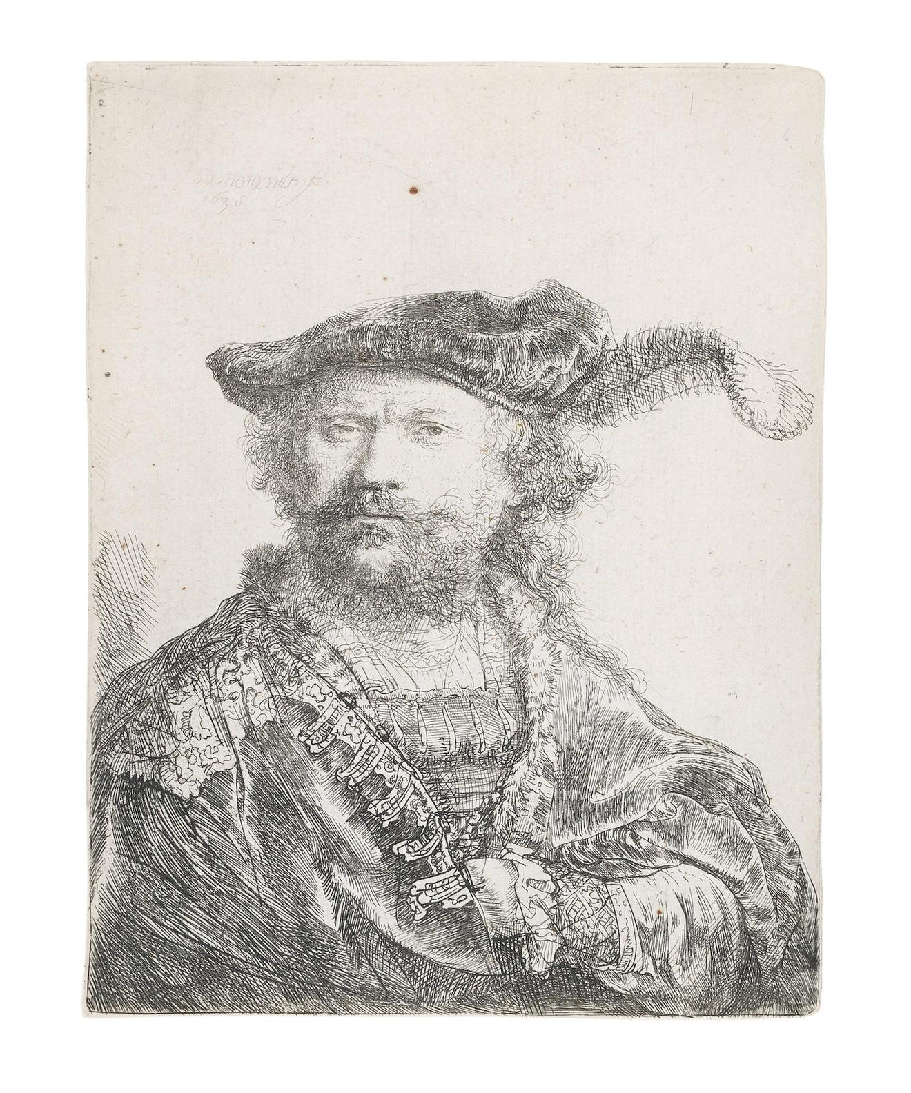 Rembrandt van Rijn-Self-Portrait In A Velvet Cap With Plume-1638