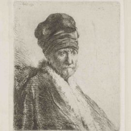 Rembrandt van Rijn-Bust Of A Man Wearing A High Cap, Three-Quarters Right: The Artists Father (?)-1630