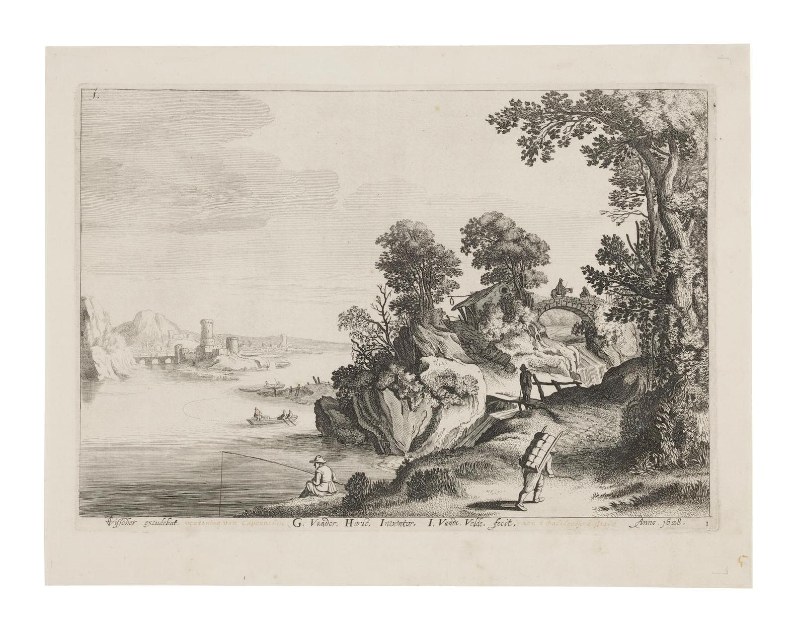 Jan Van Der Velde II - River Landscape With Travellers On A Road; Jan van Londerseel after David Vickboons Parable of the owner of the vineyard (H.22)-1628