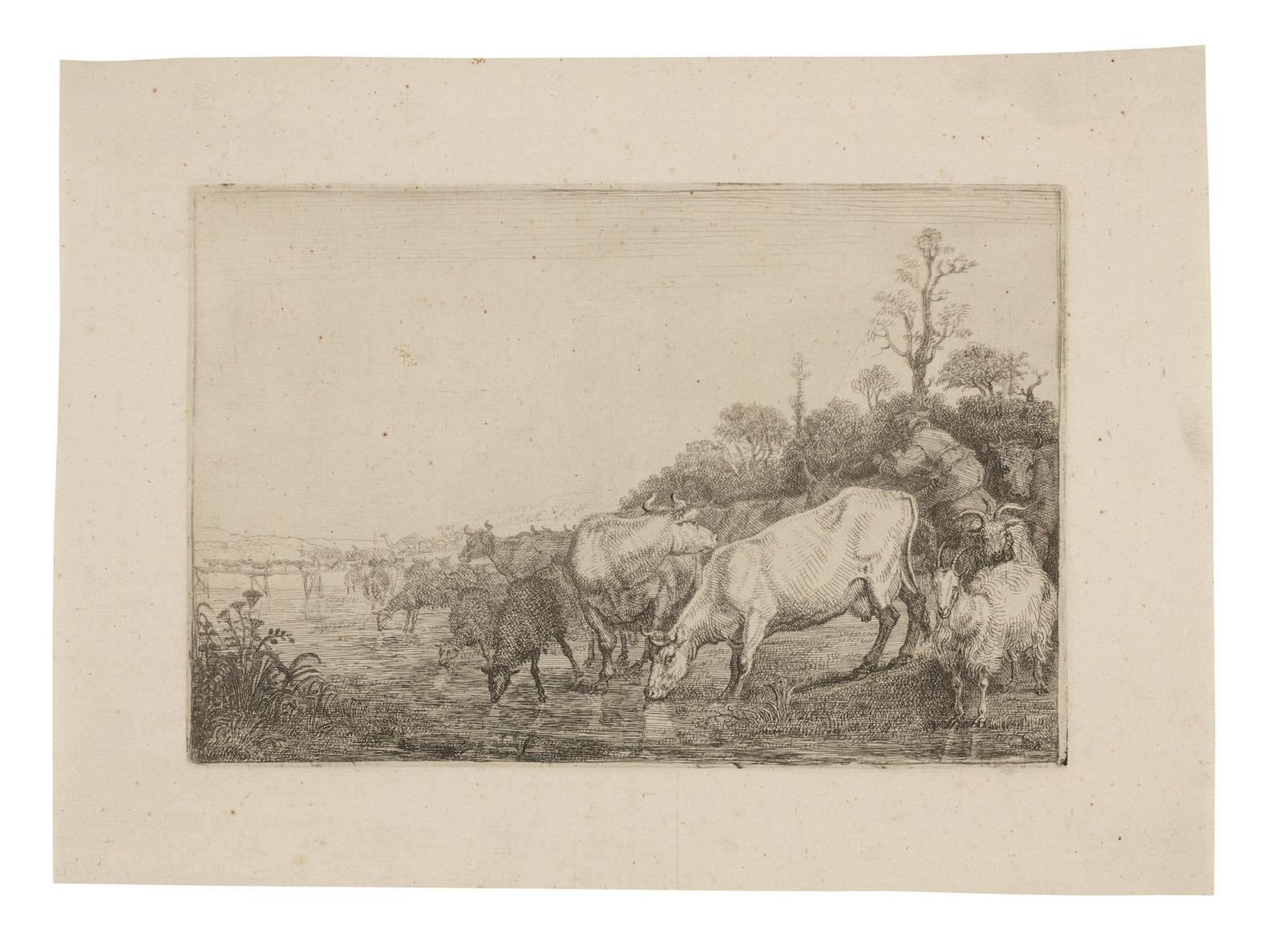 Gerrit Bleker - Cattle Drinking; Claes Corneilisz - Moeyaert The Herd of Cattle (H24)-1638