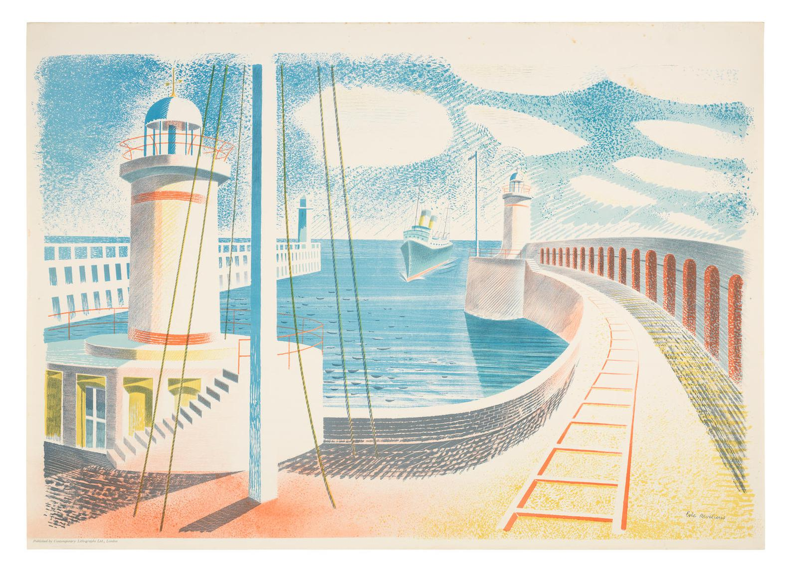Eric William Ravilious-Newhaven Harbour-1937