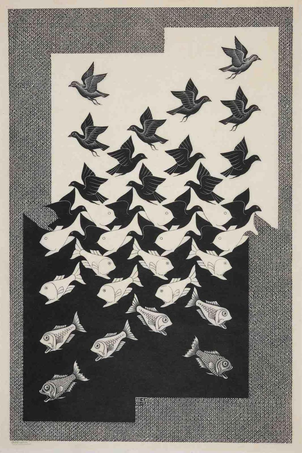 Maurits Cornelis Escher-Sky And Water II-1938