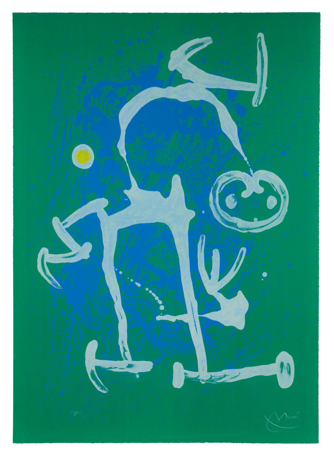 Joan Miro-Lillettre - Bleu Et Blanc-1969
