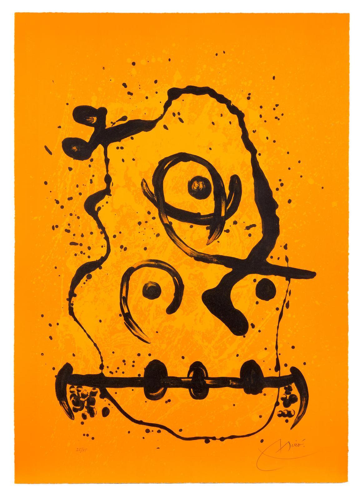 Joan Miro-The Polyglot Man - Orange-1969