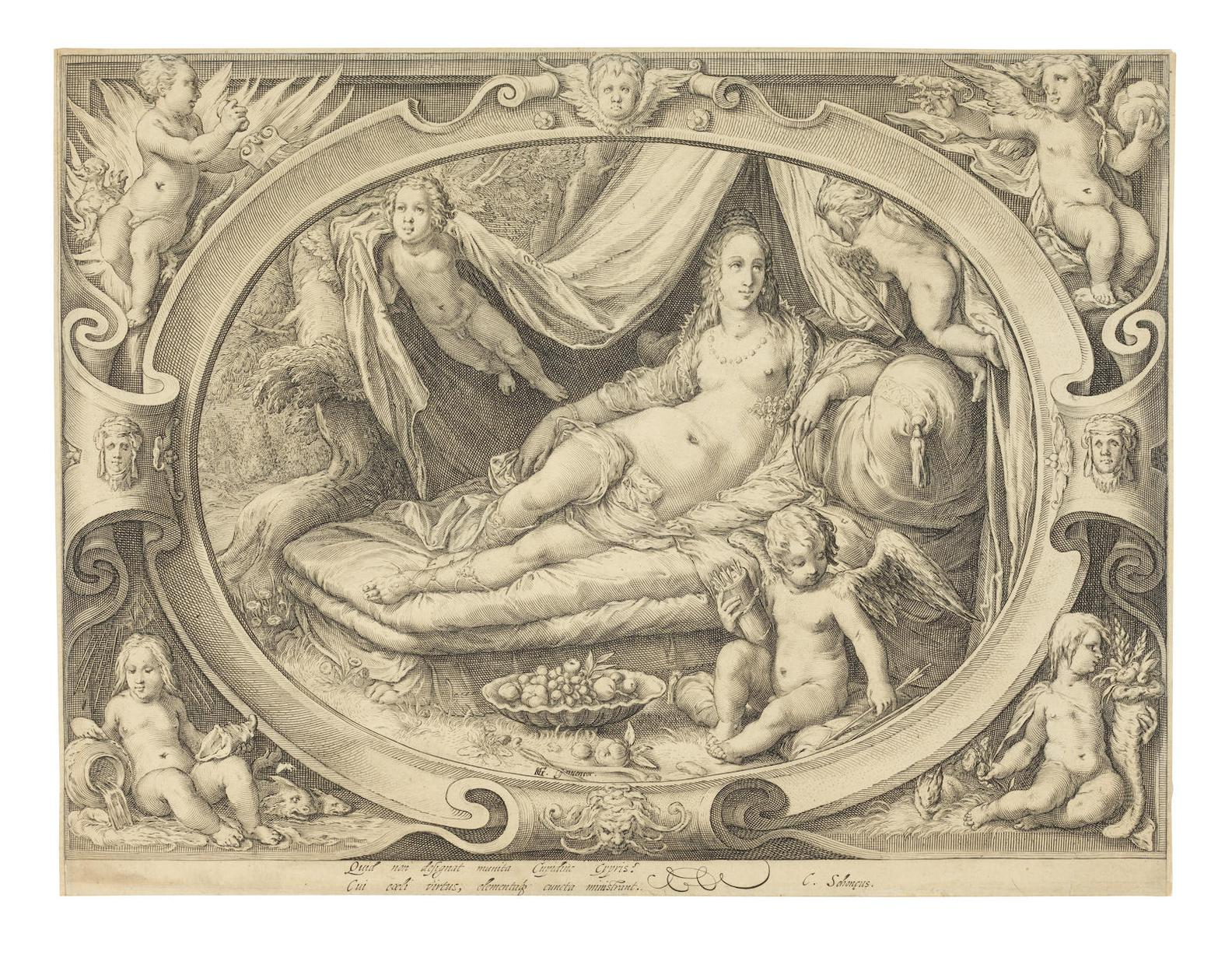 Jan Pietersz Saenredam - Venus With Amor Reclining On A Bed; Hendrick Goltzius - Portrait of Frederic II King of Denmark and Norway (H.188)-