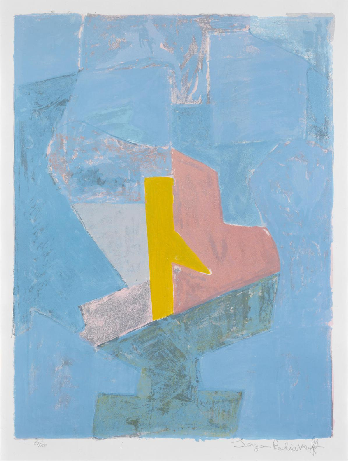 Serge Poliakoff-Composition Bleu, Jaune Et Rouge-1958
