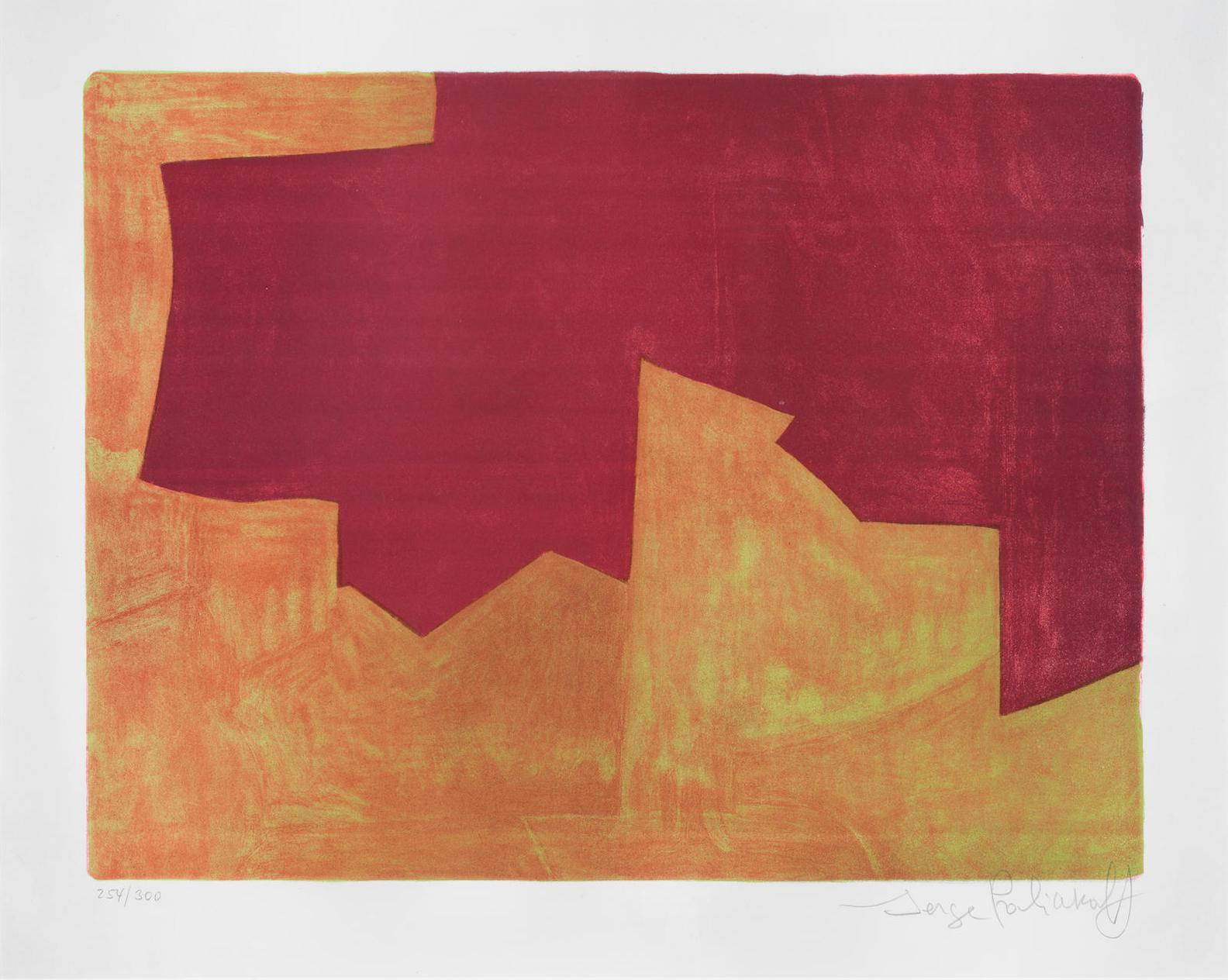 Serge Poliakoff-Composition Lie-De-Vin Et Orange-1963