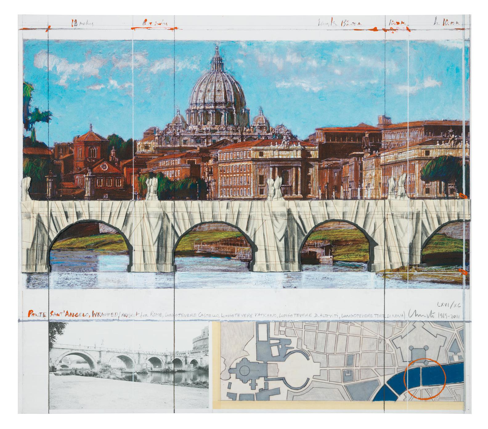 Christo and Jeanne-Claude-Ponte Santangelo, Wrapped, Project For Rome, 1969-2011-2011