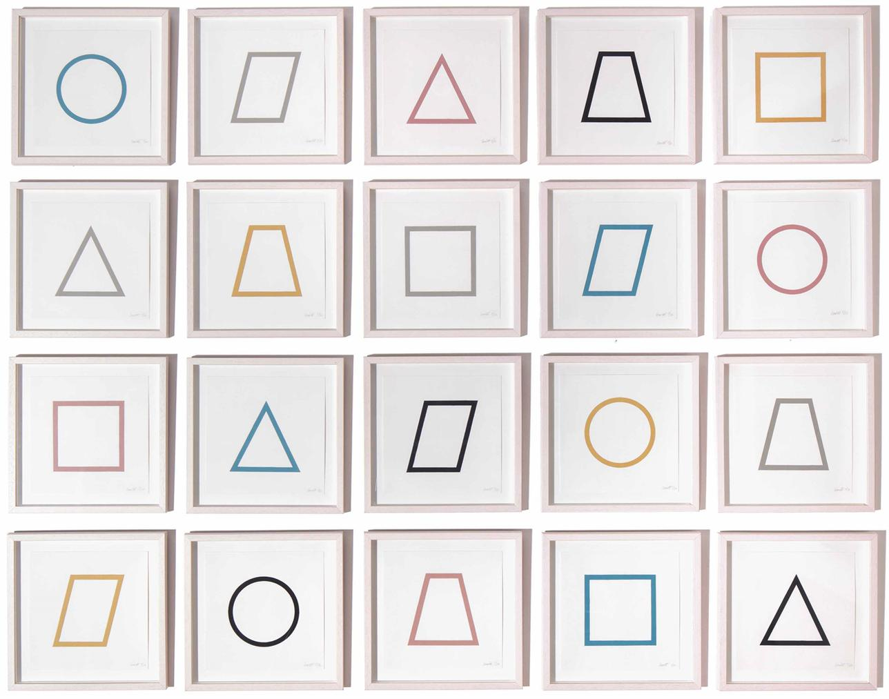 Sol LeWitt-Five Geometric Figures In Five Colors: Twenty Prints-1986