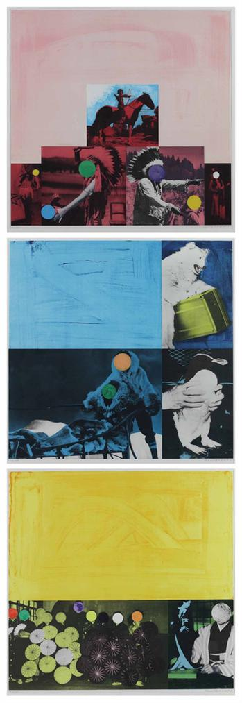 John Baldessari-(i) Cliche: North American Indian (Red); (ii) Cliche: Eskimo (Blue) (iii) Cliche: Japanese (Yellow)-1995