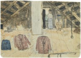 James Castle - Untitled (Attic Scene With Abstracted Figures And Clothes)