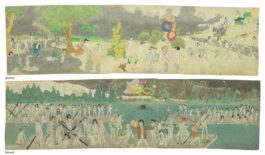 Henry Darger-93 At Jennie Richee, Are Chaced For Long Distance By Glandelinians With Blood Hounds. / 95 At Jennie Richee, Escape Down Aronburgs Run River Through Circle Section In Storm., Double Sided