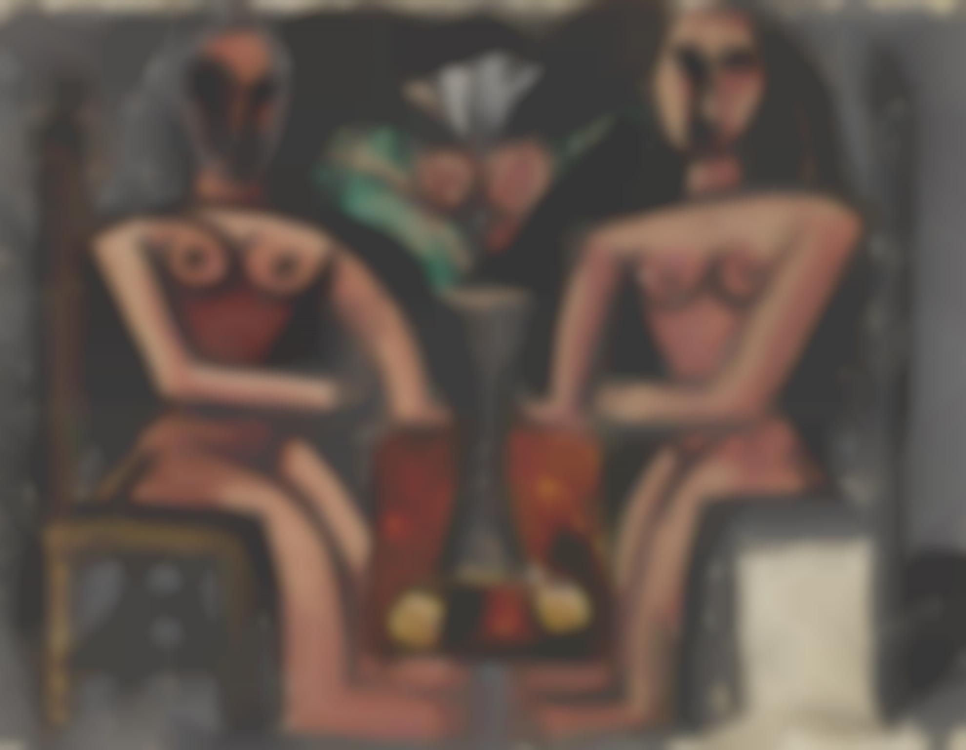 Pablo Picasso-Deux Femmes Assises (Recto) Etude Pour Loffrande (Verso)-1908