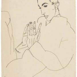 Egon Schiele-Erich Lederer, Die Hande Gefaltet (Erich Lederer With Hands Clasped)-1915