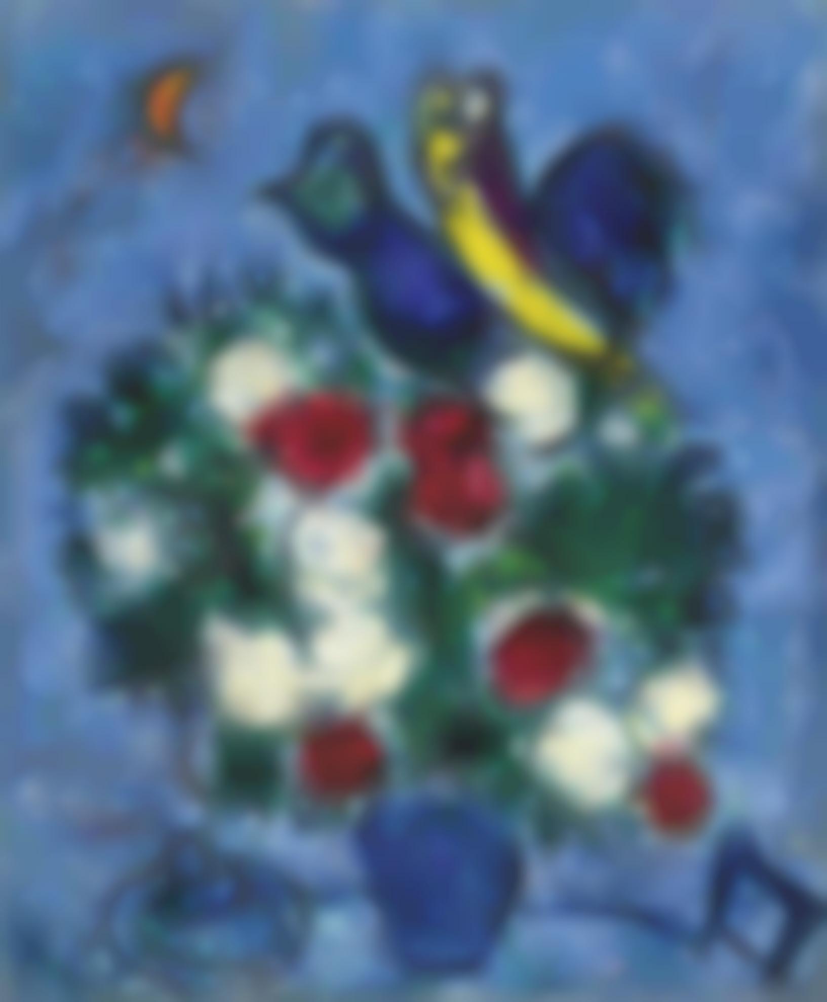 Marc Chagall-Vase De Fleurs, Couple Et Coq-1957