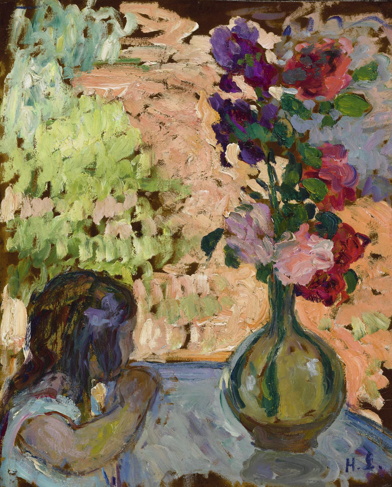 Henri Lebasque-Fillette Et Vase De Fleurs-1905
