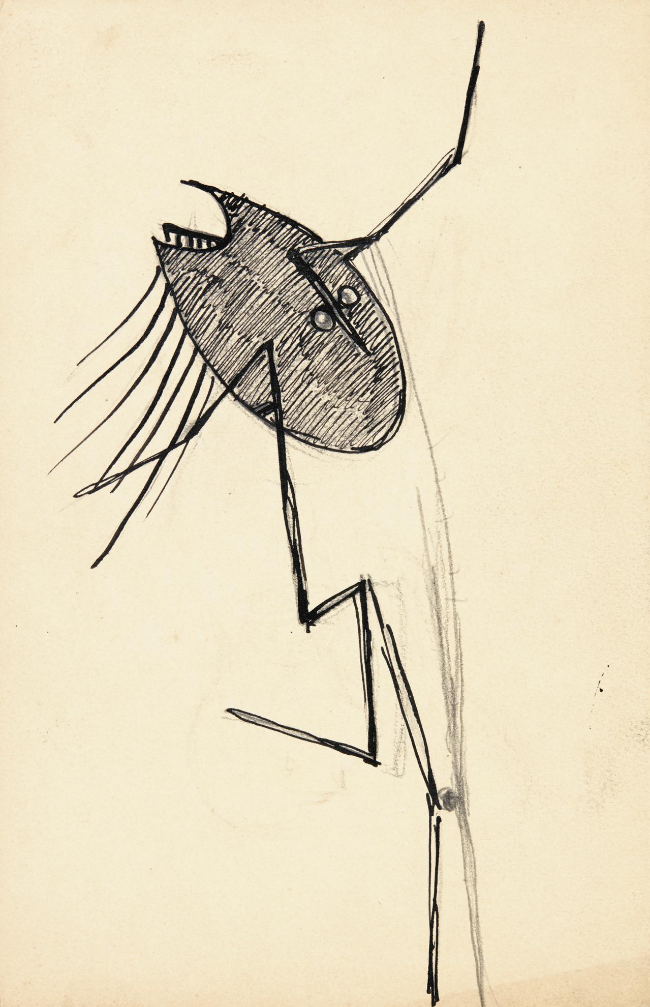 Julio Gonzalez-Etude Pour La Danseuse A La Palette-1934