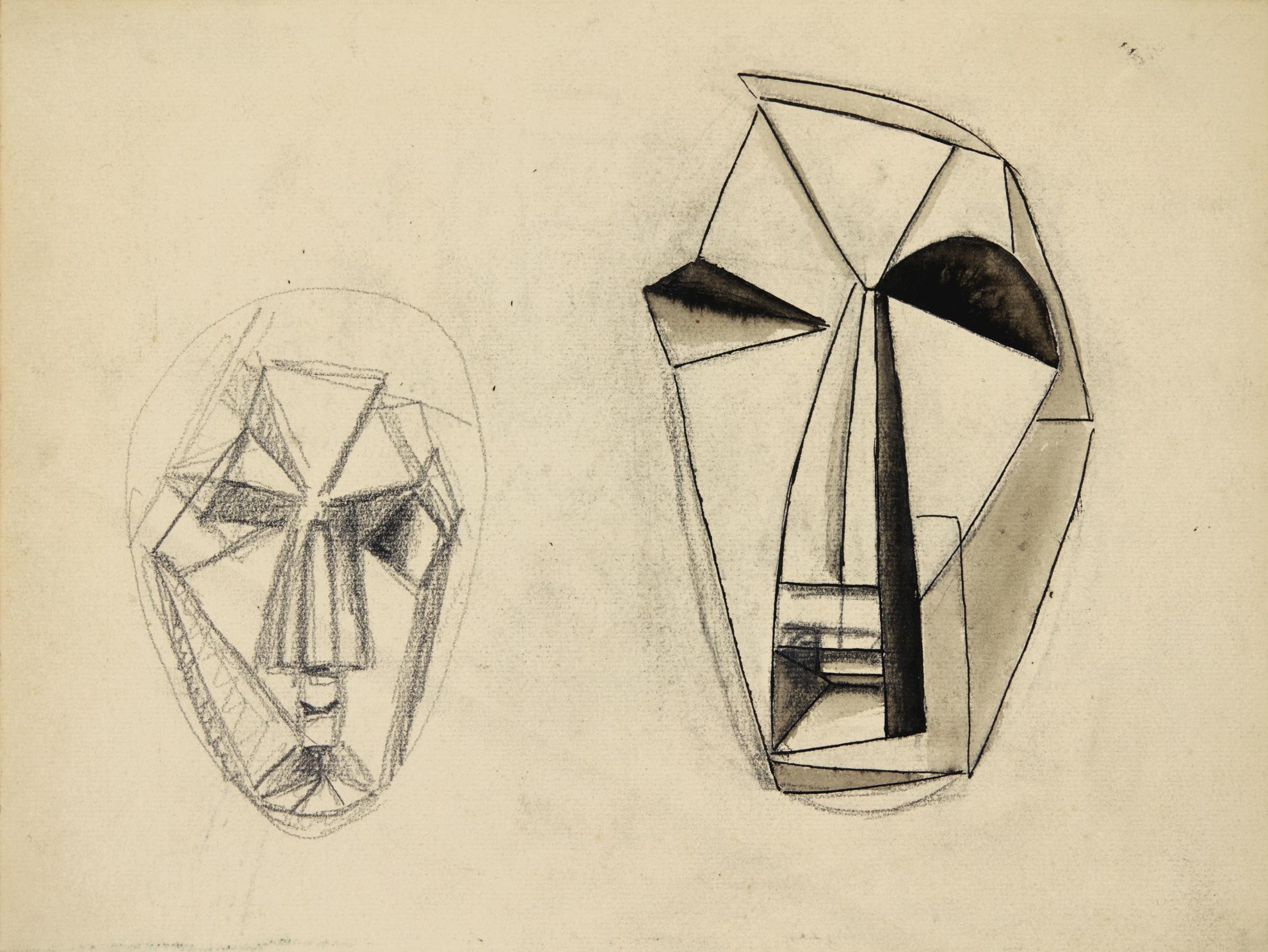 Julio Gonzalez-Etudes De Masques Religieux - Recto & Verso-1941