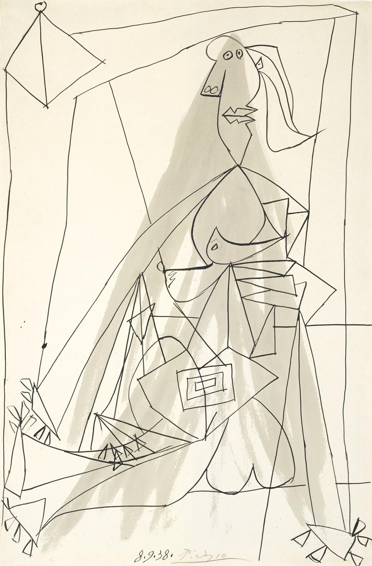 Pablo Picasso-Baigneuse Et Cabine De Bains-1938