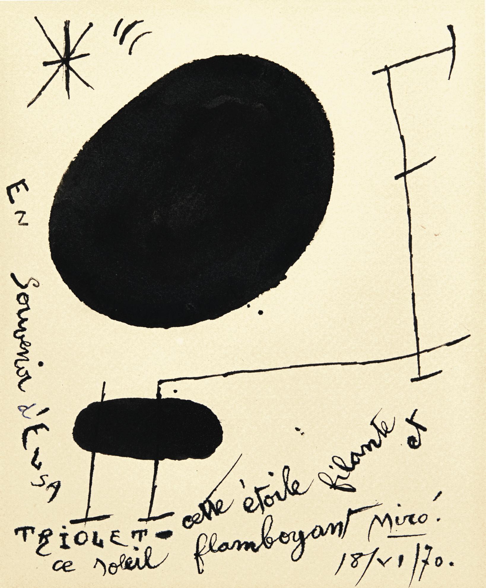Joan Miro-Sans Titre (En Souvenir Delsa Triolet)-1970