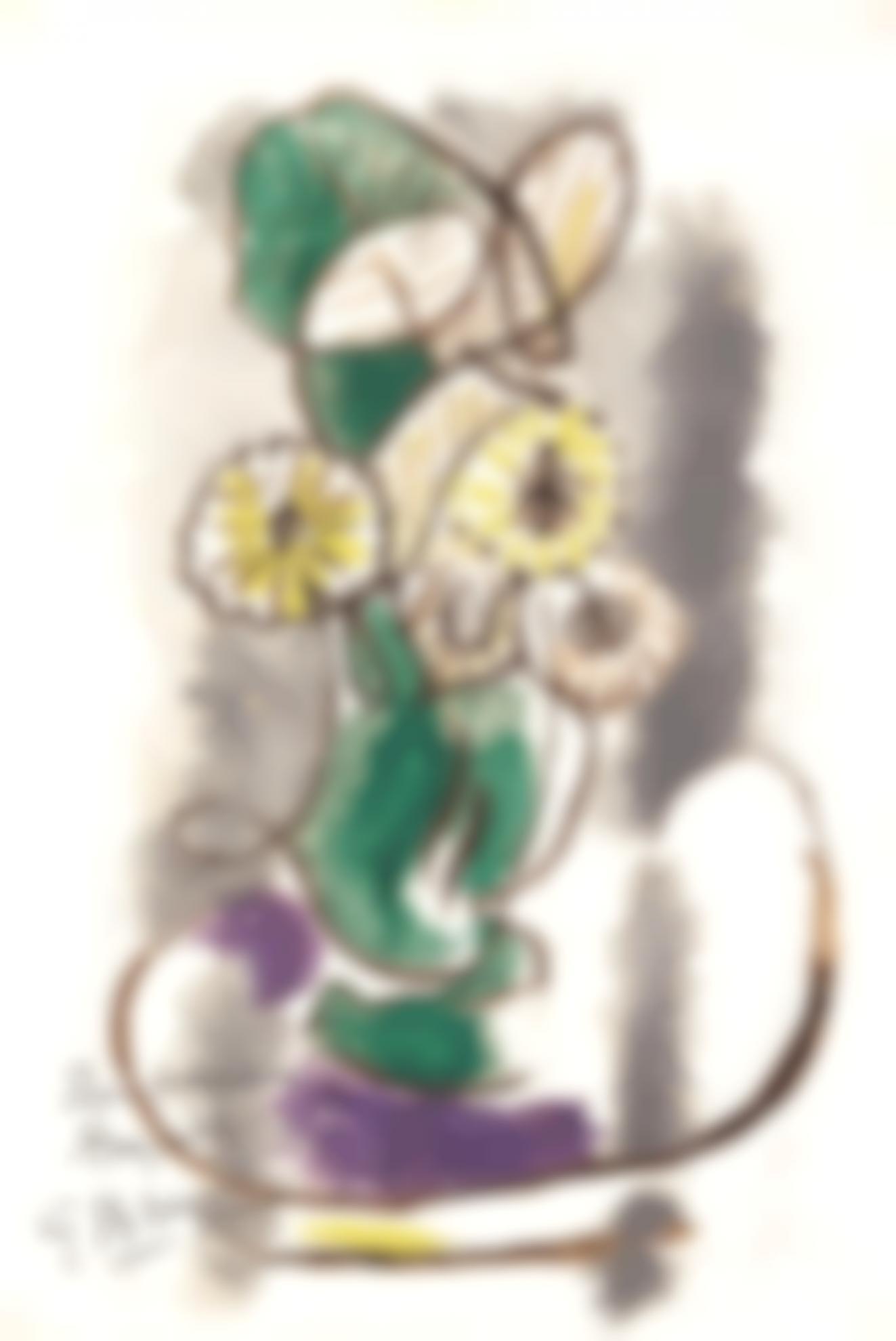 Georges Braque-Fleurs Et Feuilles Dans Un Vase-1962