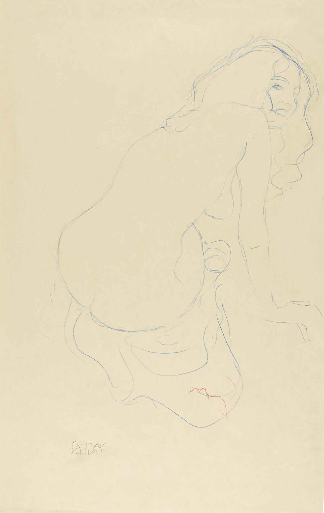 Gustav Klimt-Kauernder Akt Nach Rechts Mit Langen Haaren (Crouching Nude With Long Hair Seen From The Right)-1911