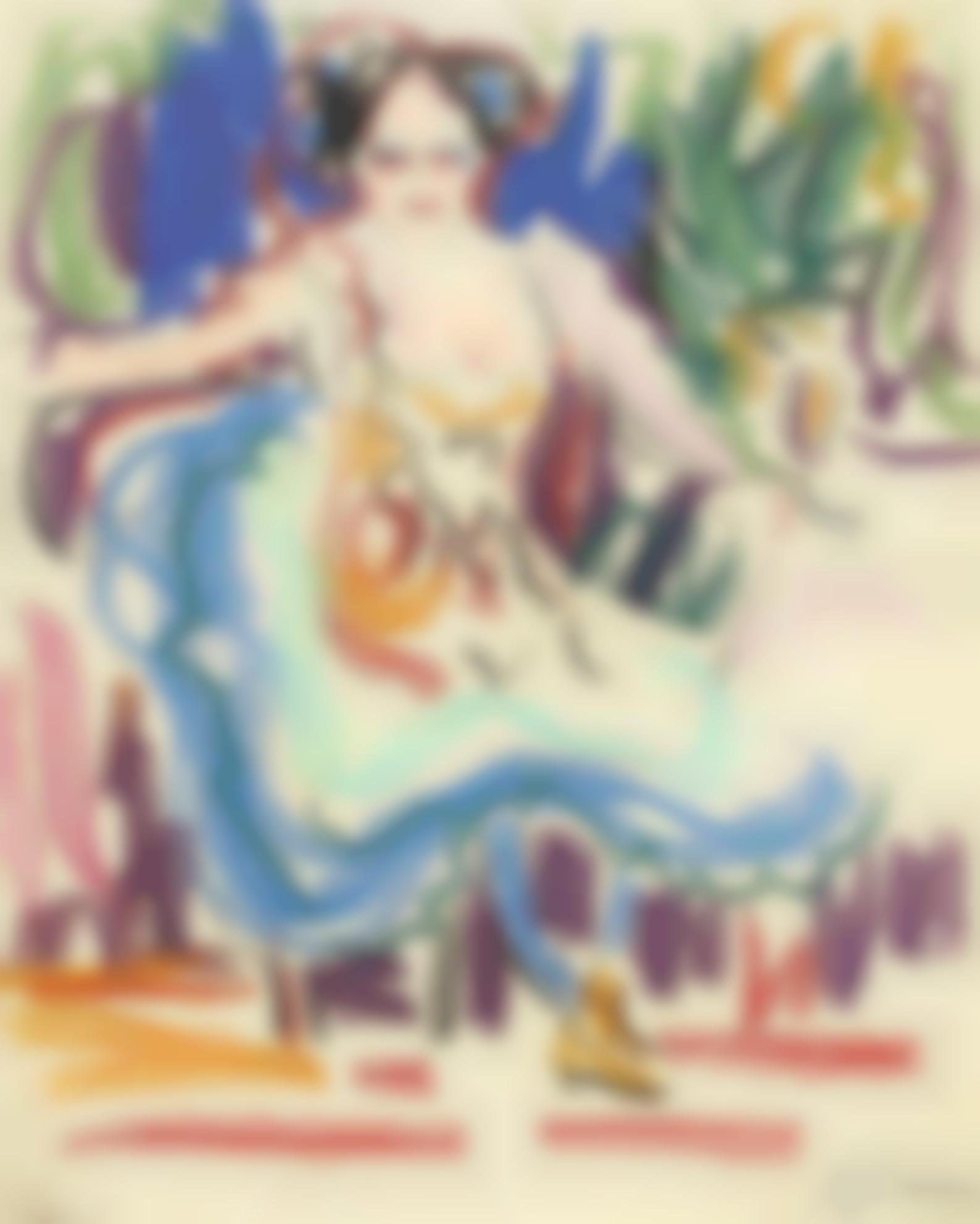Ernst Ludwig Kirchner-Tanzerin In Einem Sessel (Dancer In An Armchair)-1908