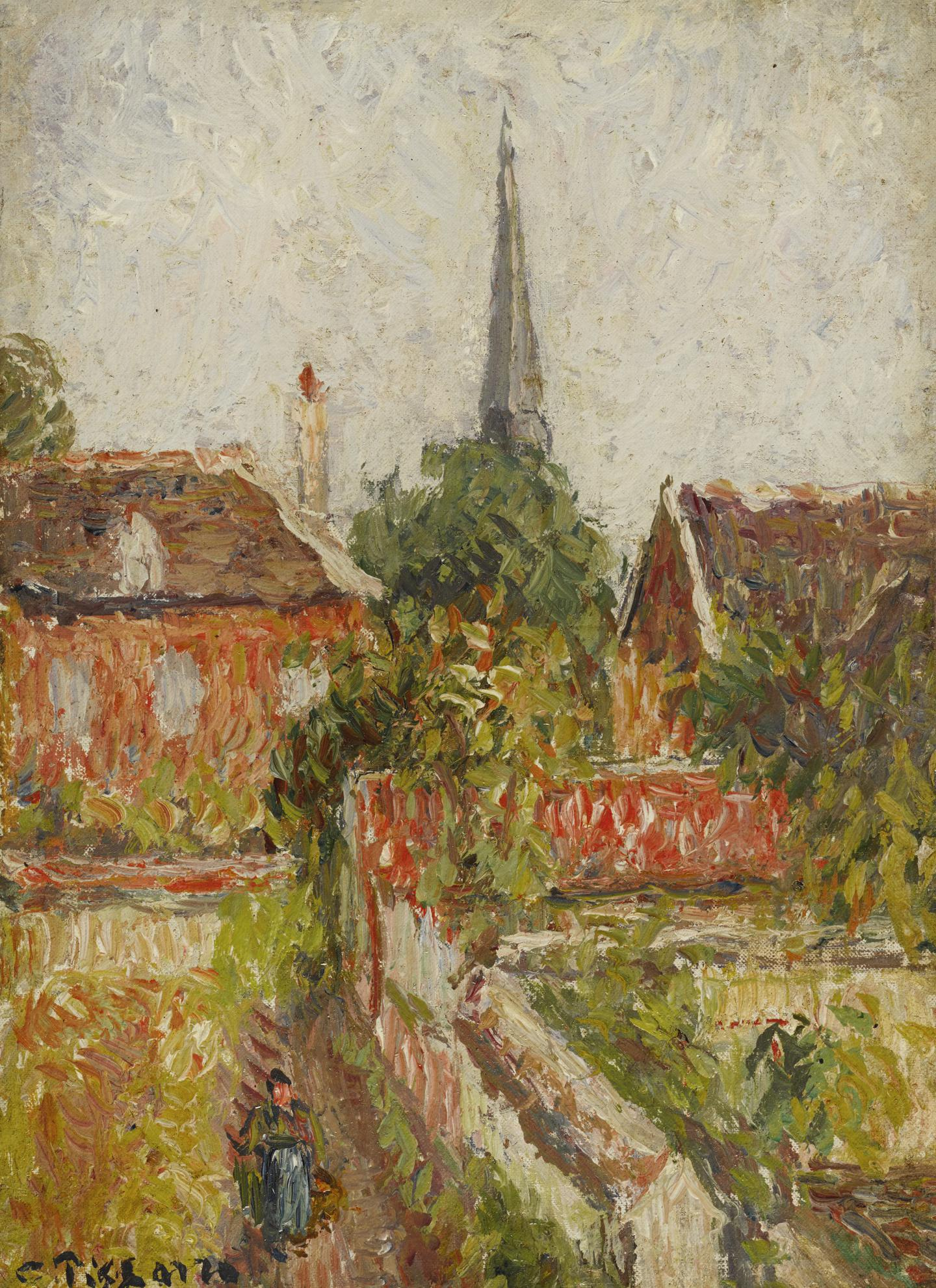 Camille Pissarro-La Maison De La Sourde Et Le Clocher Deragny-1894