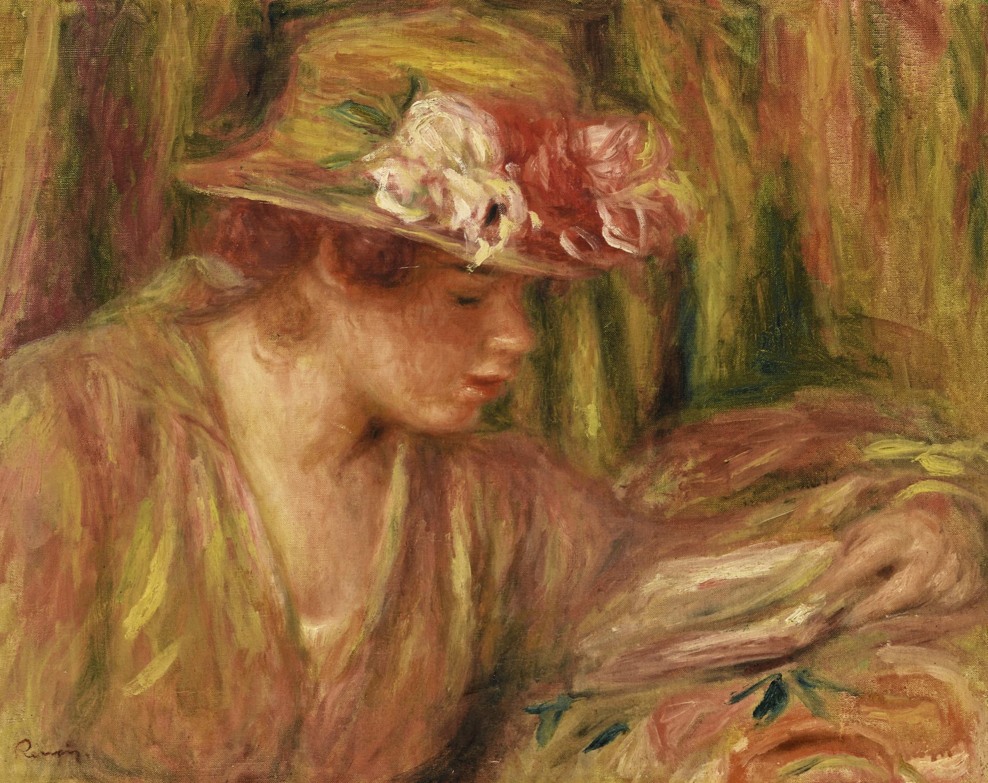 Pierre-Auguste Renoir-Buste De Femme (Andree En Chapeau Lisant, La Tete Tournee A Droite)-1917
