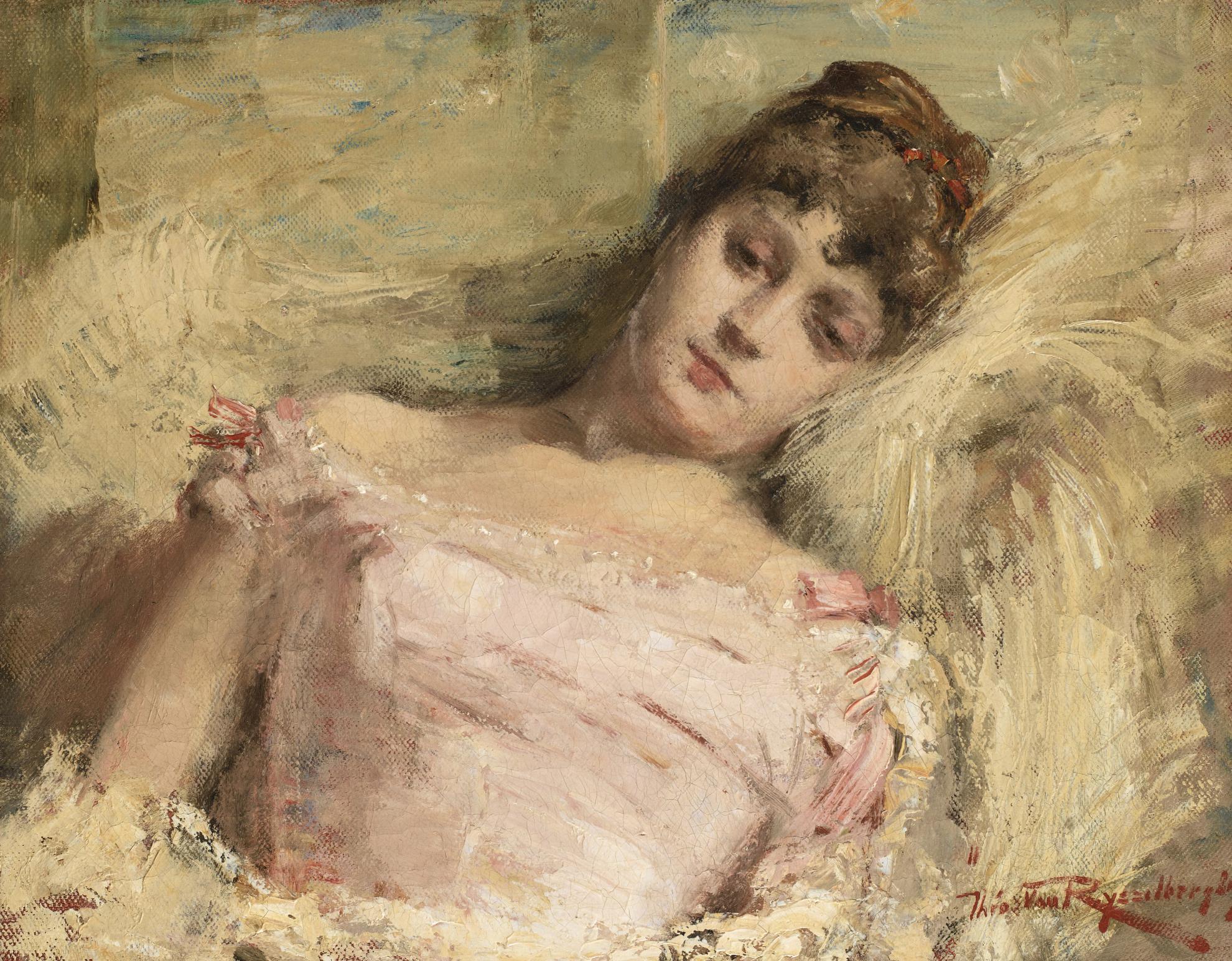 Theo van Rysselberghe-Buste De Femme Inclinee Vers L'Arriere (Jeune Femme Pensive)-1885