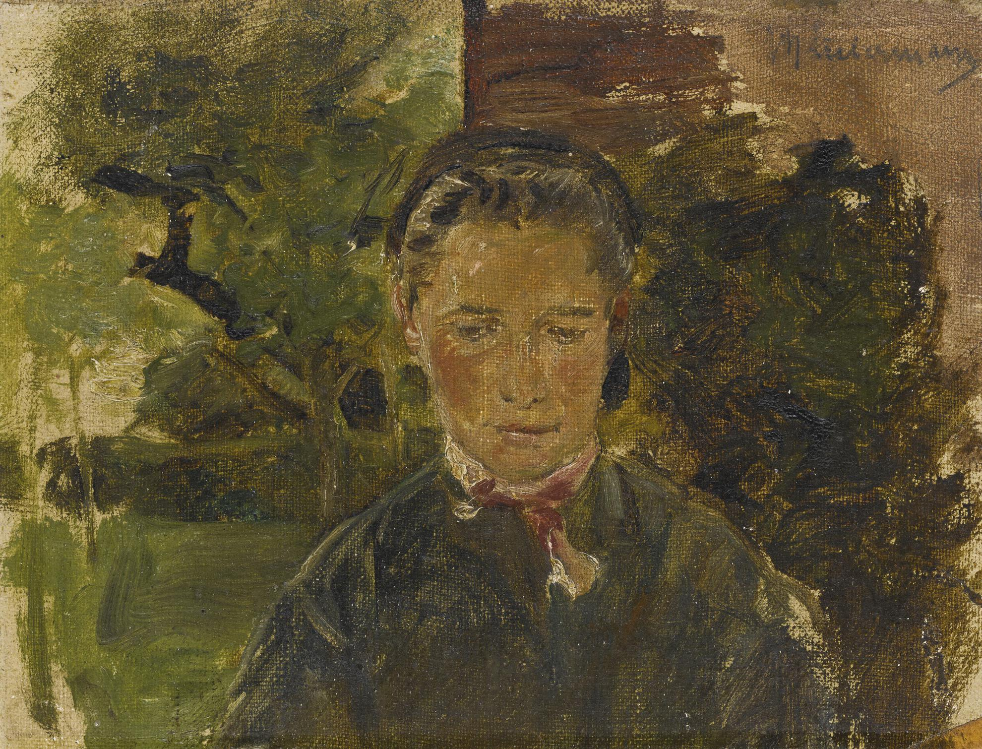 Max Liebermann-Bildnis Einer Jungen Frau Aus Laren, Halbfigur En Face (Portrait Of A Young Woman From The Country, Half Figure En Face)-1887