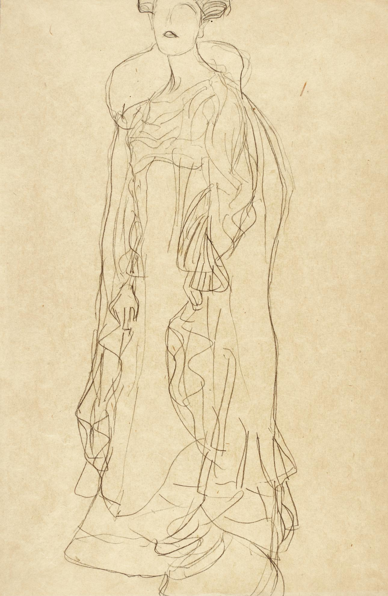Gustav Klimt-Studie Fur Das Bildnis Adele Bloch Bauer I, Stehend Nach Links Im Dreiviertelprofil (Study For Portrait Of Adele Bloch Bauer I, Standing To The Left In Three-Quarters Profile)-1904