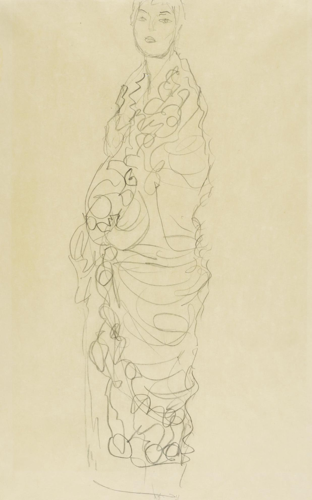 Gustav Klimt-Stehende In Tucher Gehullt (Studie Fur Ria Munk III) (Standing Figure Wrapped In A Shawl (Study For Ria Munk III))-1917