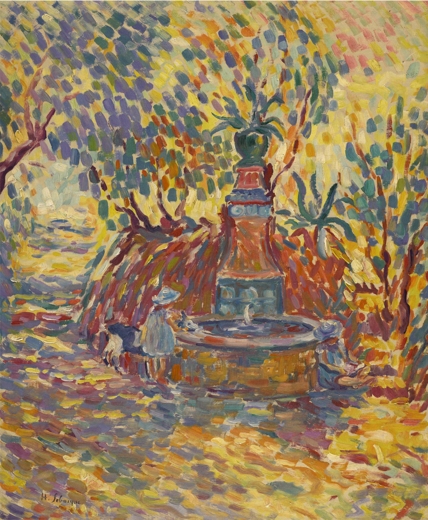 Henri Lebasque-Saint-Tropez, Fillettes A La Fontaine-1906