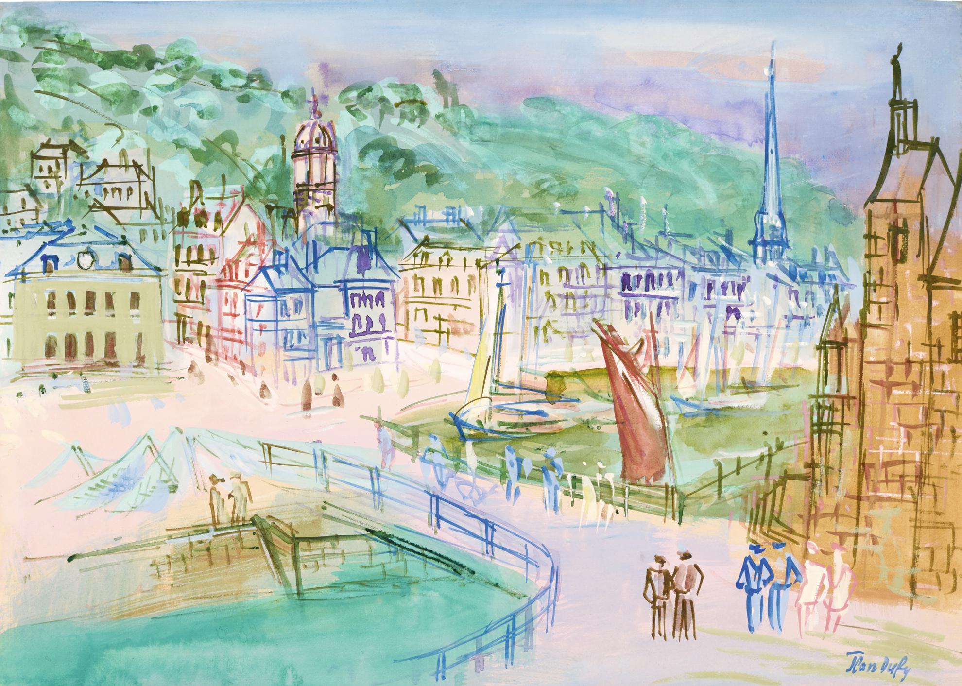 Jean Dufy-Honfleur, Lecluse Du Vieux Bassin-1949