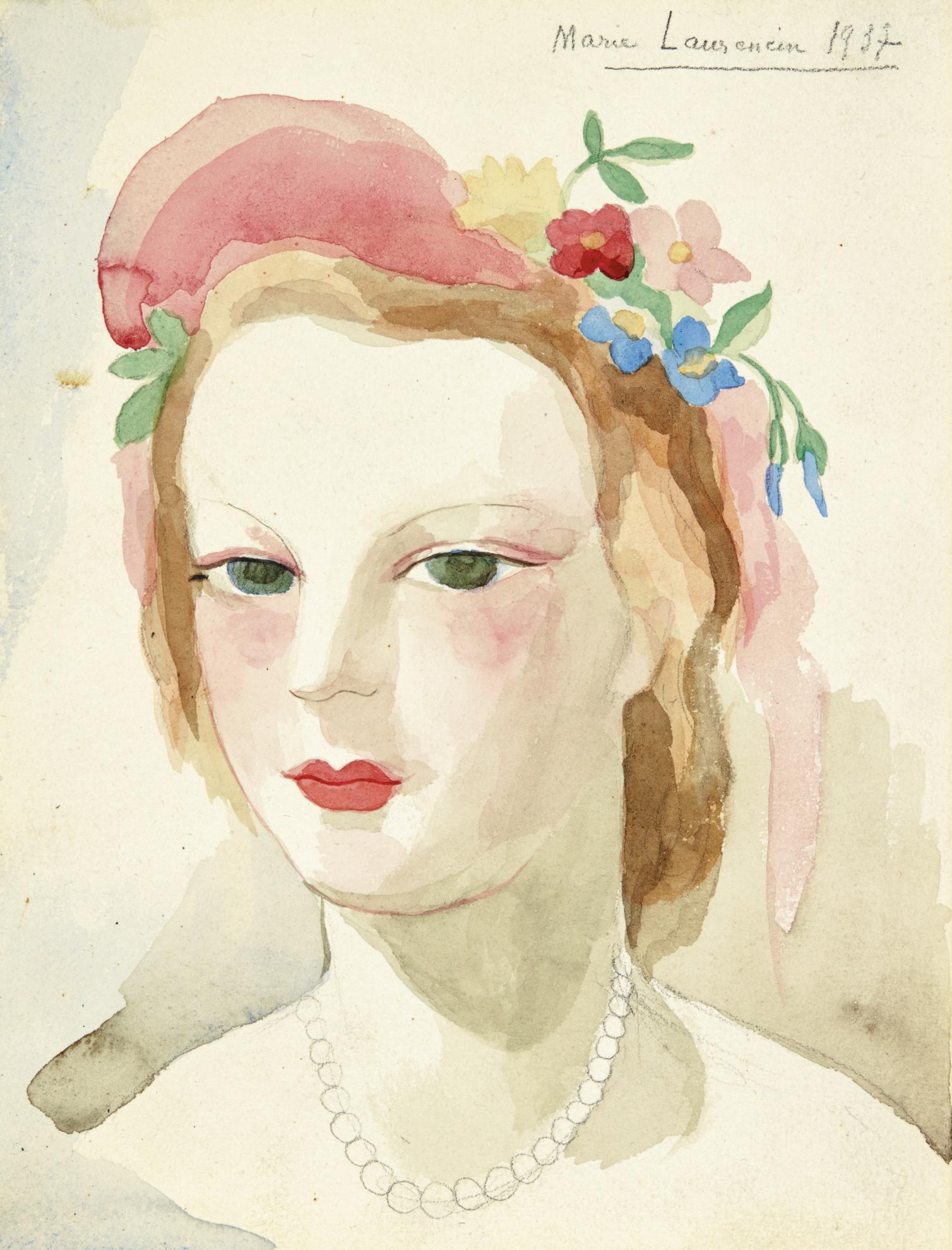 Marie Laurencin-Visage Et Fleurs Dans Les Cheveux-1937