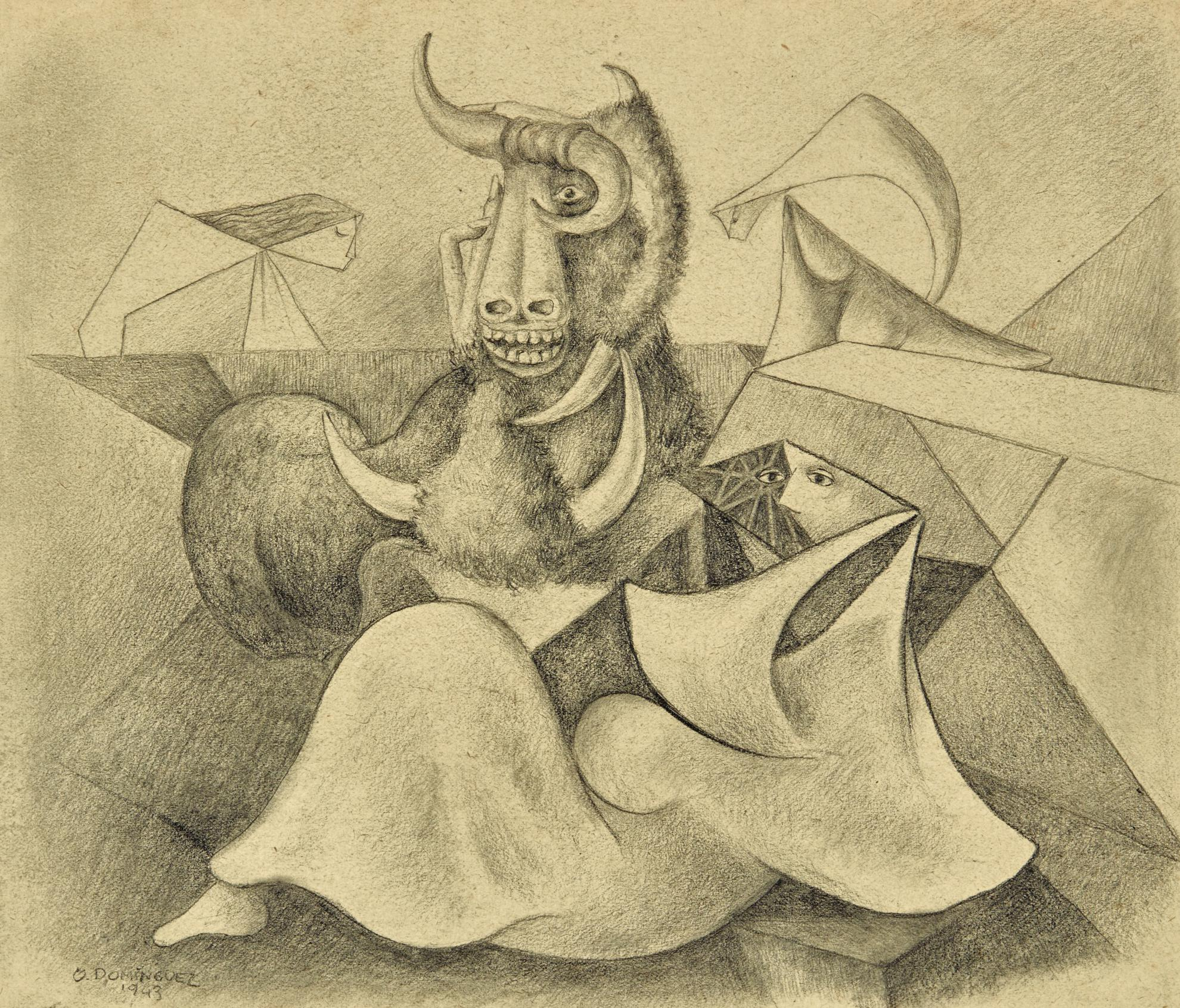 Oscar Dominguez-Toro Y Mujeres (Bull And Women)-1943