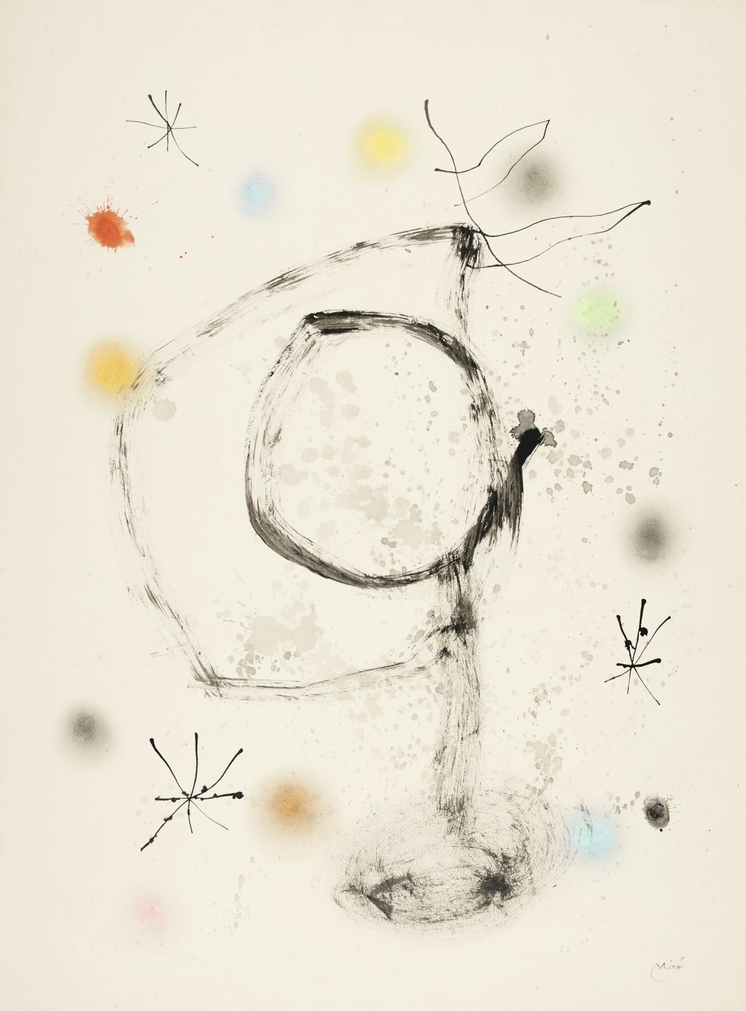Joan Miro-Personnage Et Oiseau Dans La Nuit-1965
