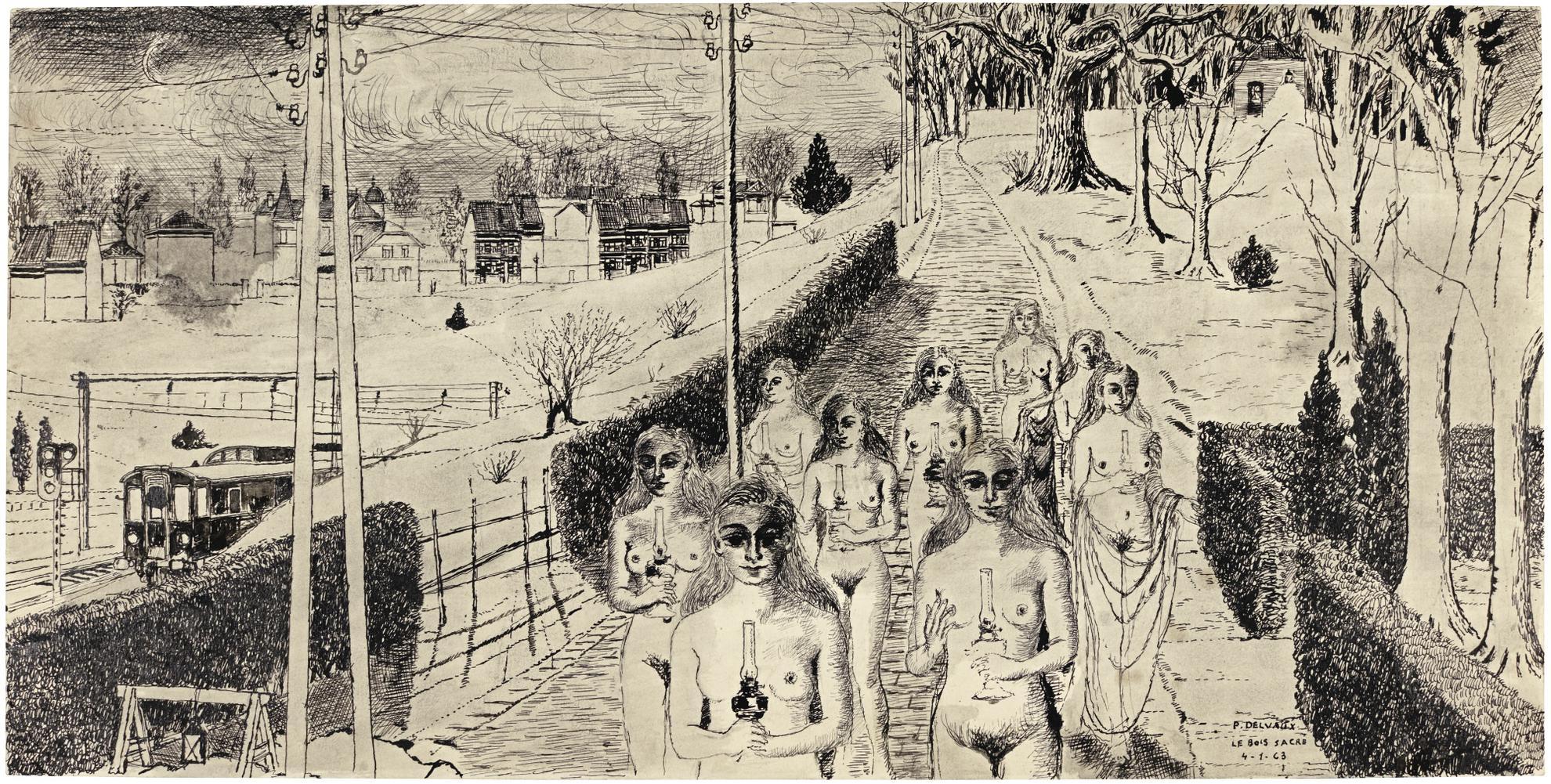 Paul Delvaux-Le Bois Sacre-1963