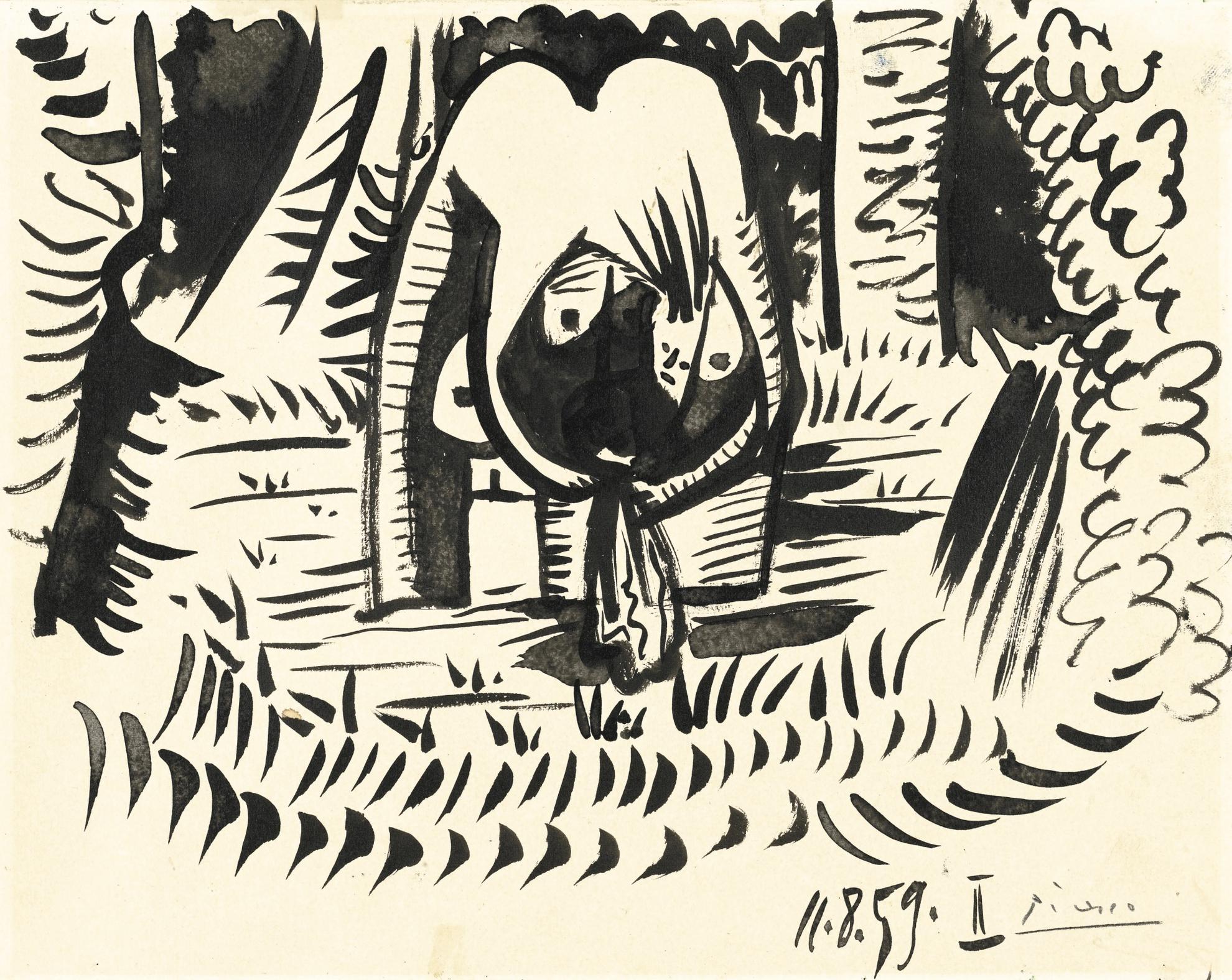 Pablo Picasso-Etude Pour La Baigneuse Du Dejeuner Sur Lherbe (Manet)-1959