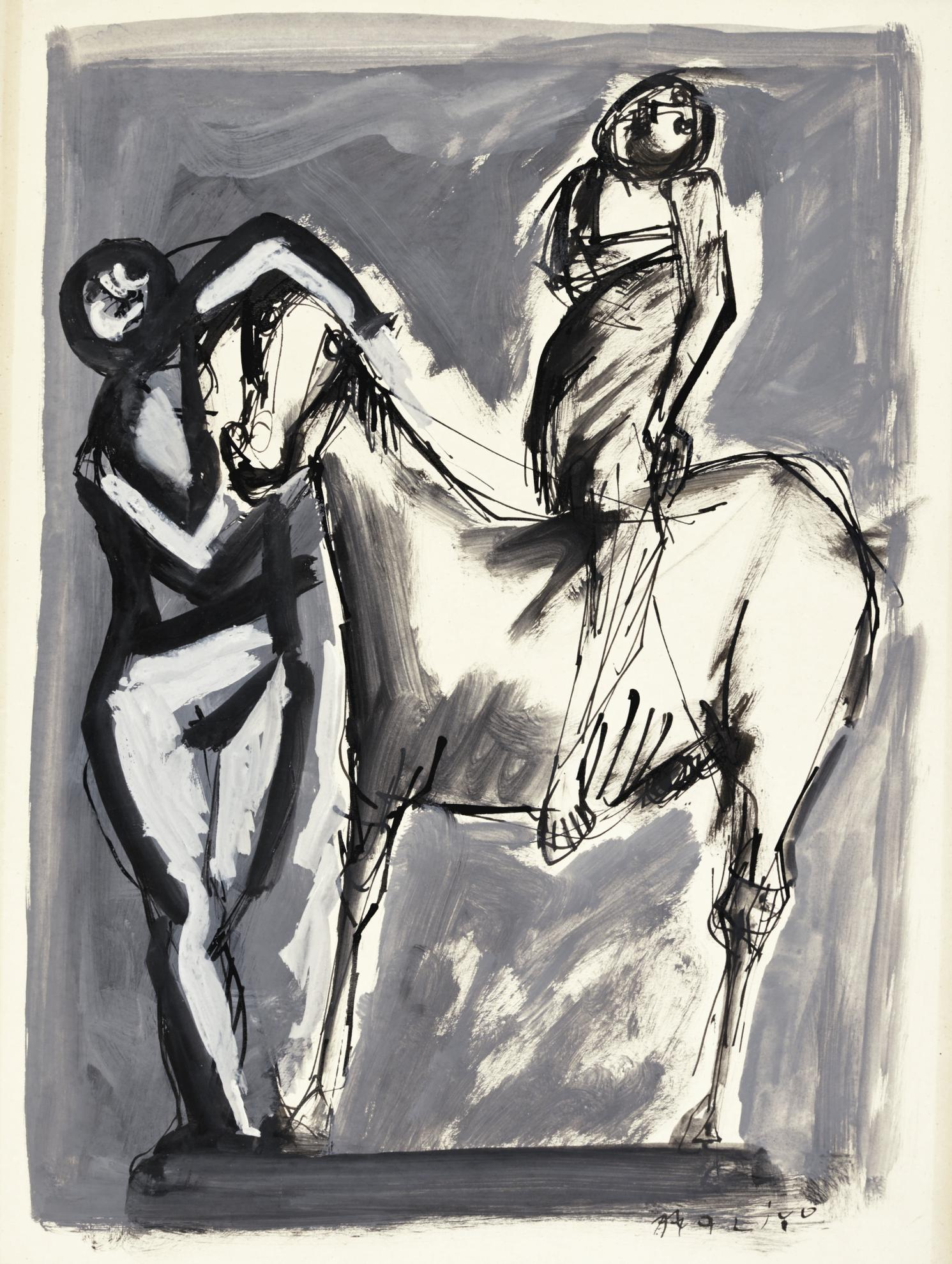 Marino Marini-Cavallo E Cavalieri (Horse And Riders)-