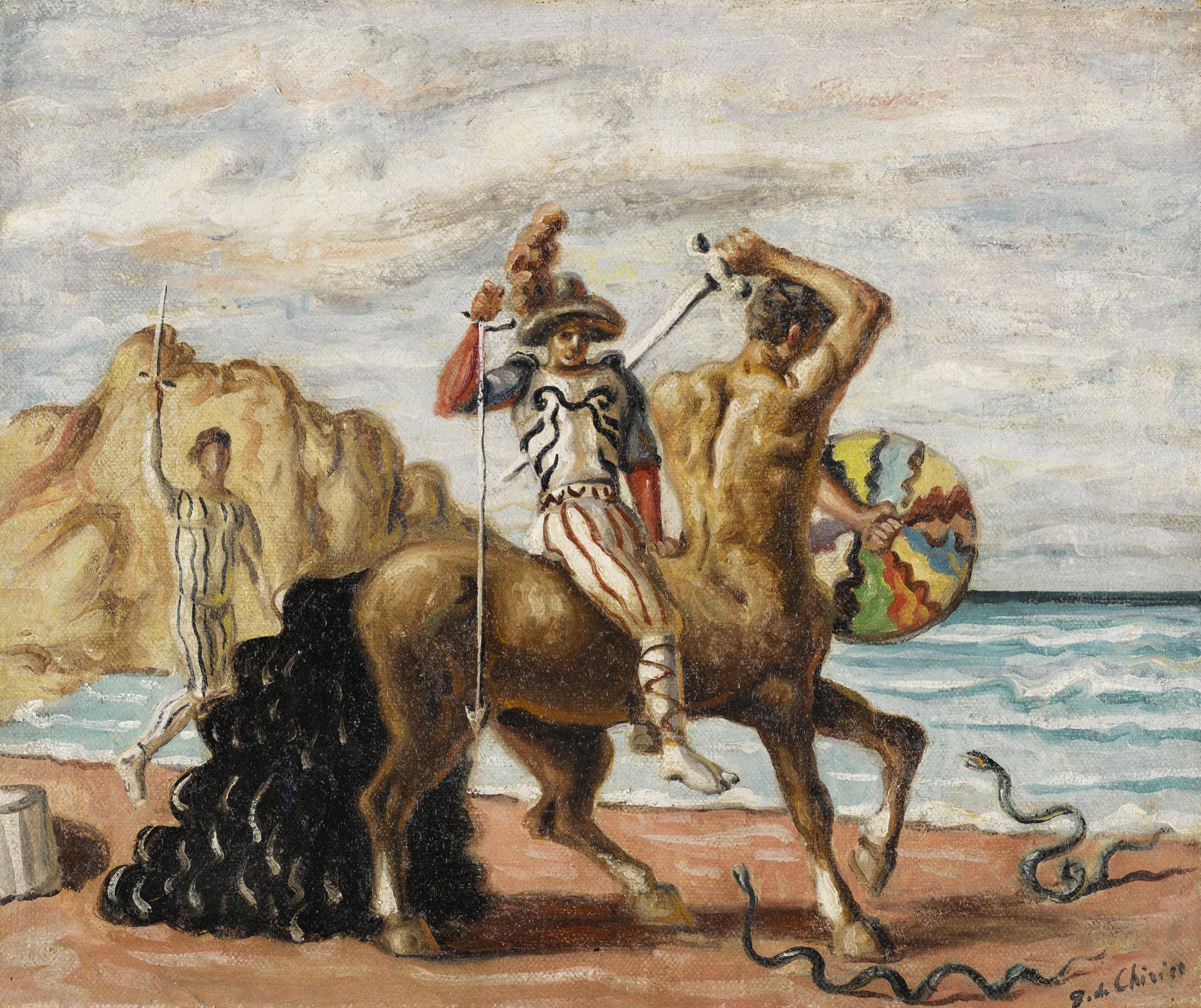 Giorgio de Chirico-Puritani E Centauro In Riva Al Mare (Puritan And Centaur By The Sea)-1935
